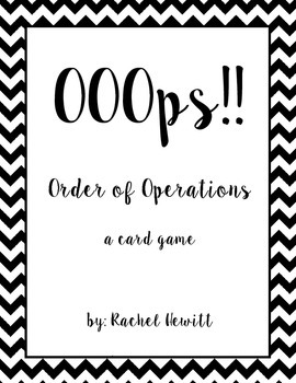 OOOps!  An Order of Operations Card Game