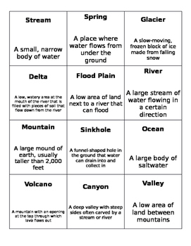 OOPS! Game Cards - Land/Water Forms (4th Grade Ohio Standards)