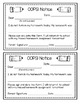 OOPS Notice! Missing Homework Parent Slip