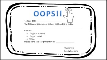 OOPS... Reminder to hand in assignment (EDITABLE)