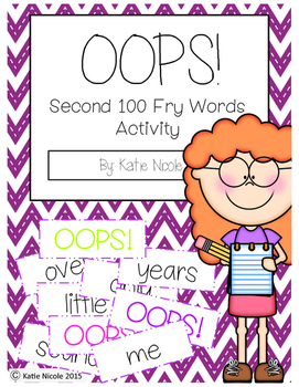 OOPS! Second 100 Sight Words Activity