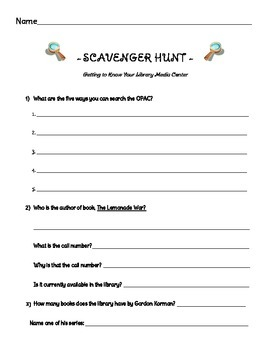 OPAC Scavenger Hunt