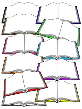 OPEN BOOK CLIPART * COLOR AND BLACK AND WHITE