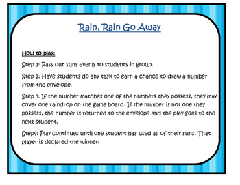 OPEN ENDED GAME- Rain, Rain Go Away!