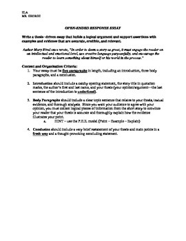 OPEN-ENDED/THESIS DRIVEN RESPONSE ESSAY