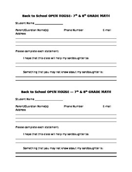 OPEN HOUSE FORM FOR PARENTS
