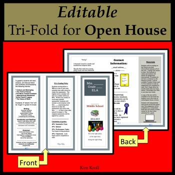OPEN HOUSE Pamphlet / Editable Handout
