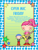 OPEN MIC FRIDAY Sign-up Sheet (Fluency Practice)