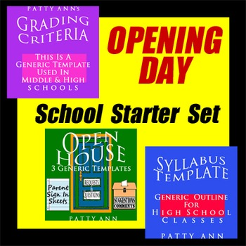 Syllabus + Grading Policy + Open House = 5 Templates!  **Back to School Set**
