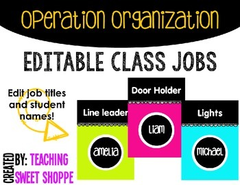 OPERATION ORGANIZATION:  Editable Classroom Jobs!