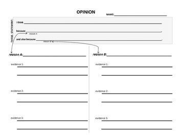 OPINION GRAPHIC ORGANIZER - 2 main points, supporting evidence, thesis