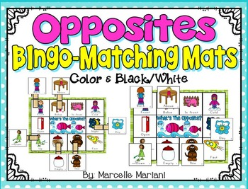 OPPOSITES- BINGO or MATCHING CENTER MATS
