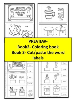 OPPOSITES- DIFFERENTIATED printable books- 3 opposites cut & paste books