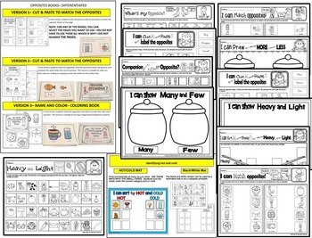 OPPOSITES- DIRECT COMPARISON MATS, BOOKS & Printables