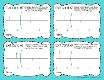 OPTICS: Exit Cards for Curved Mirrors - Ray Drawing Diagrams - FREE!