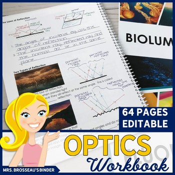 OPTICS Workbook | Notes on Light, Reflection, Refraction, Mirrors & Lenses