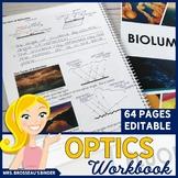 OPTICS Workbook | Notes on Light, Reflection, Refraction, Mirrors & Lenses