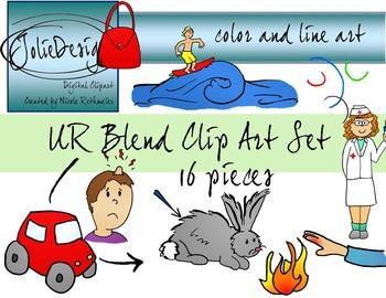 UR Blend Phonics Clip Art Set - Color and Line Art 16 pc set