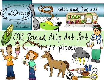 OR Blend Phonics Clip Art Set - Color and Line Art 22 pc set