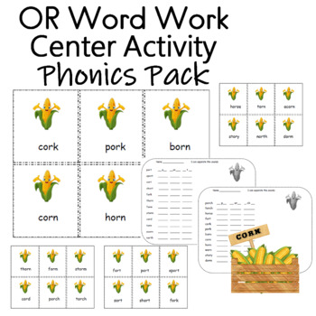 Word Work Center Activity (words with or) 24 cards  2  worksheets