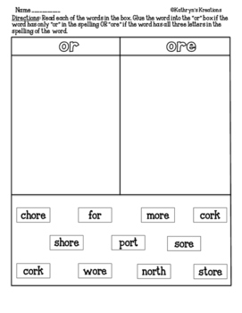Or And Ore Sort Worksheets & Teaching Resources | TpT