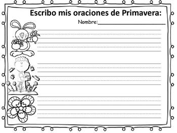 ORACIONES DE PRIMAVERA. LECTURA Y ESCRITURA EN ESPAÑOL.