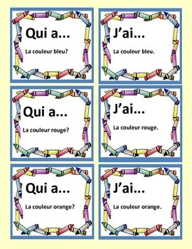 French Game on COLORS--J'ai---Qui a...Fun for the WHOLE class!!!!