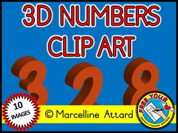 3D NUMBERS CLIPART: ORANGE SOLID SHAPES CLIPART NUMBERS: MATH CLIPART