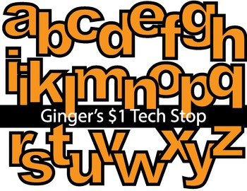 ORANGE * Bulletin Board Letters *  Lower Case * Alphabet