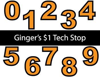 ORANGE! * Bulletin Board Letters * Numbers * 0123456789