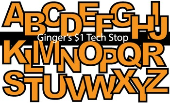 ORANGE! * Bulletin Board Letters * Upper Case * Alphabet