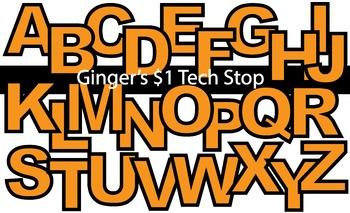 ORANGE! * Bulletin Board Letters * Upper Case * Alphabet