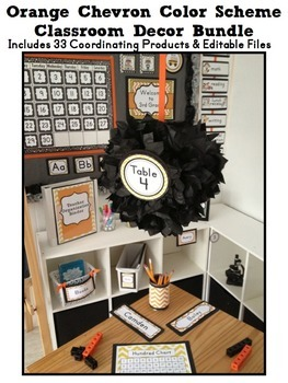 ORANGE CHEVRON Classroom Decor EDITABLE