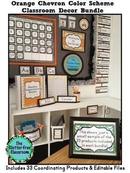 ORANGE Classroom Decor CHEVRON, EDITABLE