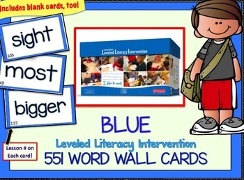 LLI Leveled Literacy Intervention Word Cards: Orange-Green-Blue