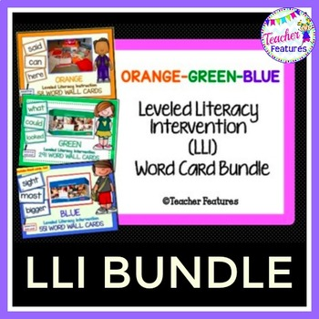 LLI Leveled Literacy Intervention Word Cards ORANGE-GREEN-BLUE (1st Edition)