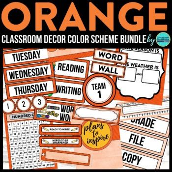ORANGE MODERN PATTERN Classroom Decor-EDITABLE Clutter-Fre