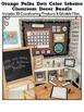 ORANGE POLKA DOTS Classroom Decor - EDITABLE Clutter-Free Classroom Decor BUNDLE