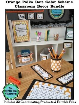 ORANGE Classroom Decor POLKA DOT, EDITABLE