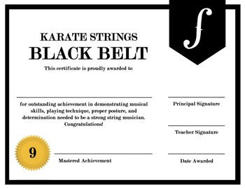 ORCHESTRA - KARATE STRINGS, KARATE ORCHESTRA CERTIFICATES