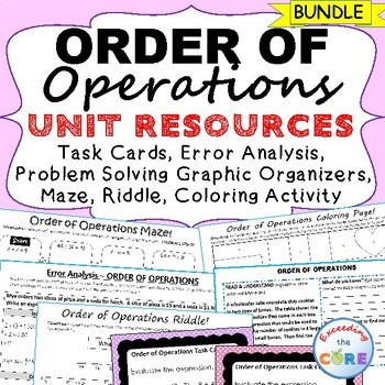 ORDER OF OPERATIONS Error Analysis, Problem Solving Graphic Organizers, Puzzles