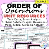 ORDER OF OPERATIONS Error Analysis, Task Cards, Graphic Organizers, Puzzles