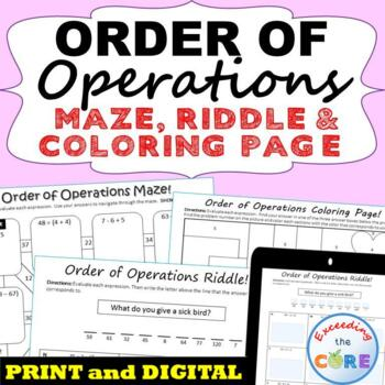 ORDER OF OPERATIONS Mazes, Riddles & Coloring Pages (Fun Activities)