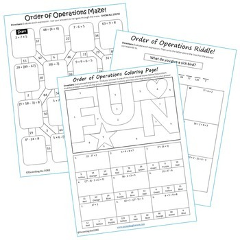 ORDER OF OPERATIONS Mazes, Riddles & Color by Number (Fun Activities)
