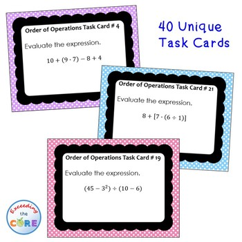ORDER OF OPERATIONS (Numerical Expressions) - Task Cards {40 Cards}