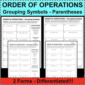 ORDER OF OPERATIONS PEMDAS Grouping Symbols Differentiated! 2 Forms!