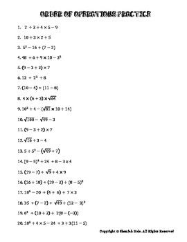 Order Of Operations Pemdas Practice Worksheets Answer Key ...