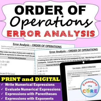 ORDER OF OPERATIONS Word Problems - Error Analysis  (Find the Error)