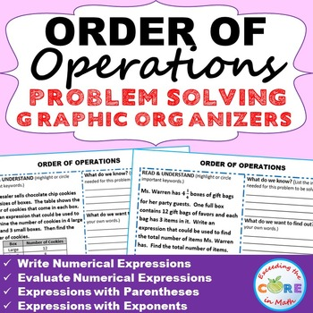 ORDER OF OPERATIONS Word Problems with Graphic Organizers