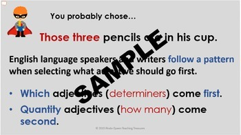 ADJECTIVE ORDER CCSS Aligned 4th Grade Up